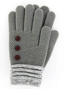 Gray Britt's Knits Ultra Soft Button Accent Gloves