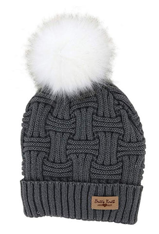 Gray Britt's Knits Plush Lined Knit Hat With Pom