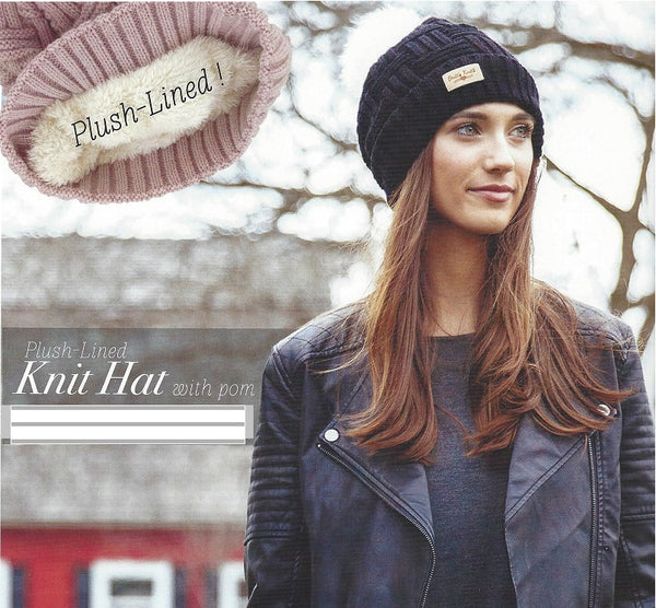 Blush Britt's Knits Plush Lined Knit Hat With Pom-Pom