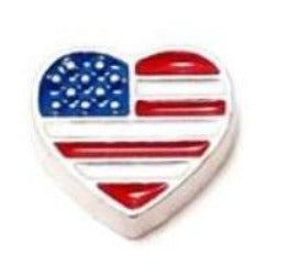 American Flag Heart Floating Charm