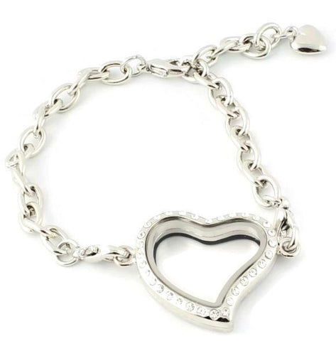 CZ Heart Floating Charm Locket Bracelet With Security Clasp
