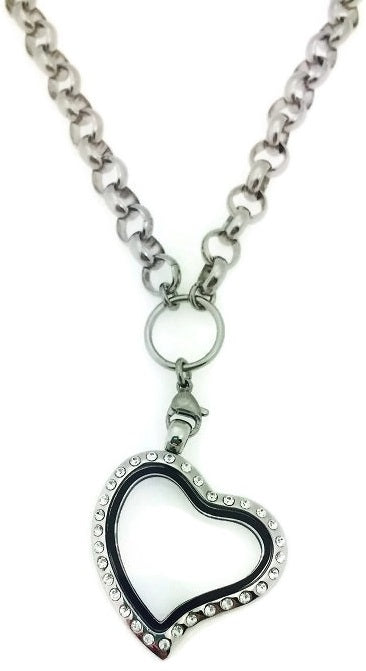 Heart Floating Charm Locket With Stainless Steel Rolo Chain