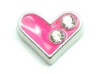 Pink Crystal Heart  Floating Charm