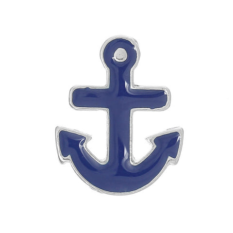 Blue Anchor Floating Charm