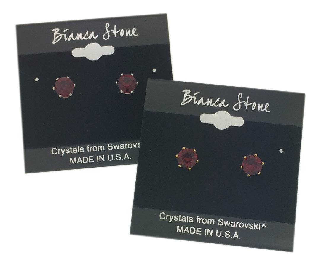January Birthstone Stud Earrings With Genuine Swarovski Crystals
