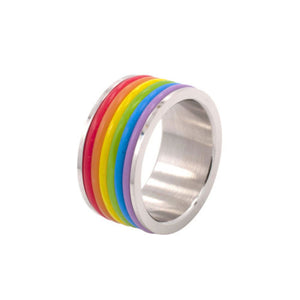 Gay Pride Stainless Steel Wedding Ring With Rainbow Jelly Bands