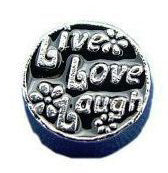 Live Love Laugh Black Floating Charm