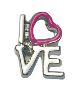 Pink Heart Love Block Floating Charm