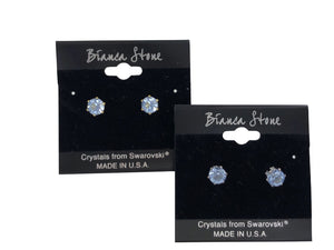March Birthstone Stud Earrings With Genuine Swarovski Crystals