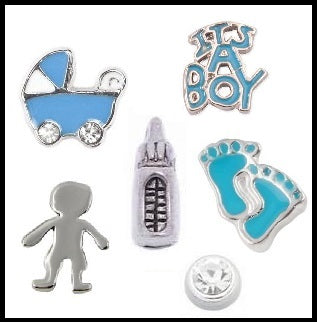 It's A Boy Floating Charm Collection