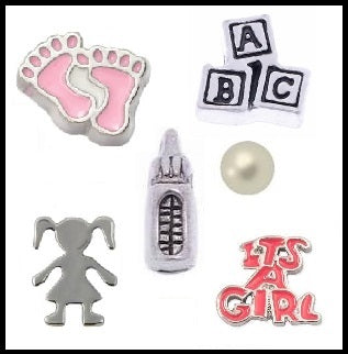 It's A Girl Floating Charm Collection