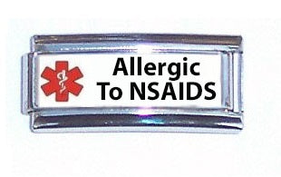 Allergic To NSAIDS Medical Alert Super Link Charm For 9mm Italian charm Bracelets