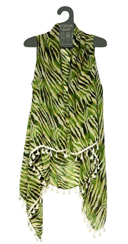 Olive Animal Print With Tassels Vest By Lavello