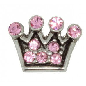 Pink Crystal Crown Floating Charm