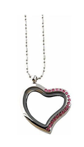 Pink Crystal Heart Floating Charm Locket Necklace
