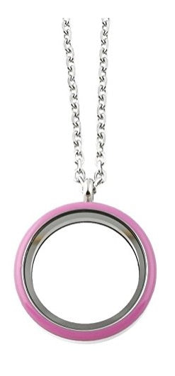 Stainless Steel 30mm Pink Enamel Screw Top Floating Charm Locket Necklace