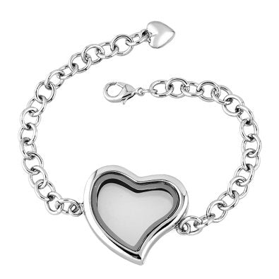 Plain Heart Floating Charm Locket Bracelet