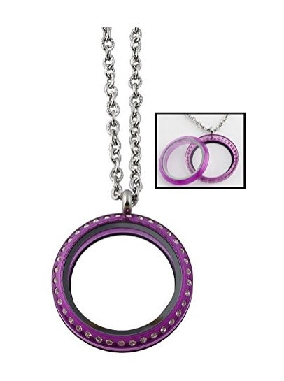 30mm Purple Acrylic Screw Top Floating Charm Locket Necklace