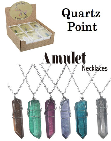 Quartz Point Wire Wrapped Amulet Necklace