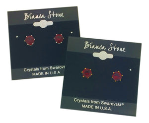 July Birthstone Stud Earrings With Genuine Swarovski Crystals