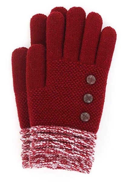 Red Britt's Knits Ultra Soft Button Accent Gloves