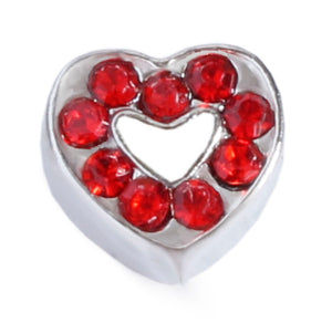 Red CZ Heart Floating Charm