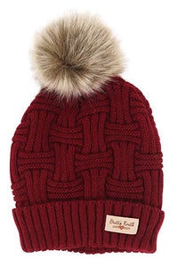 Red Britt's Knits Plush Lined Knit Hat With Pom