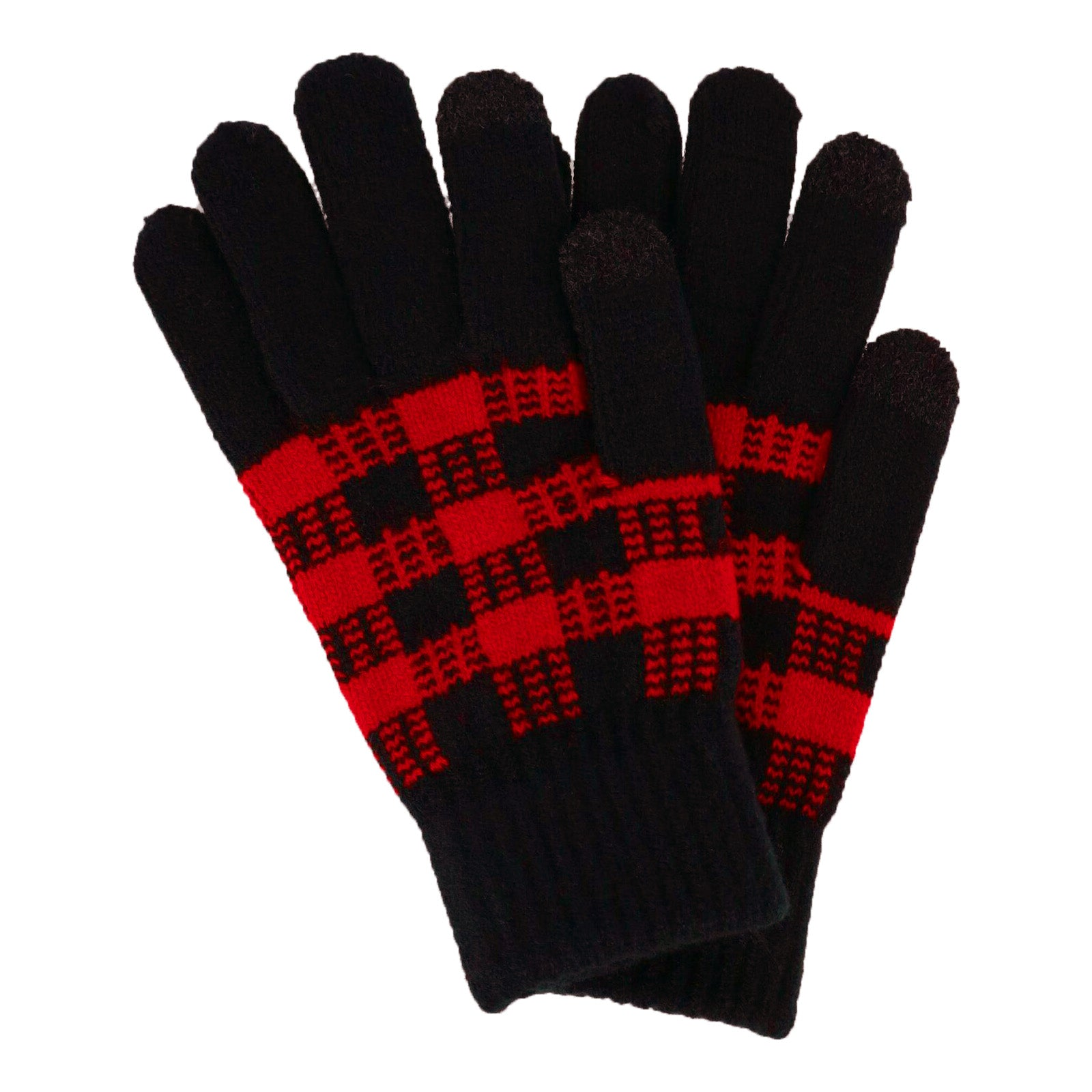 Britt's Knits Red And Black Buffalo Plaid Gloves