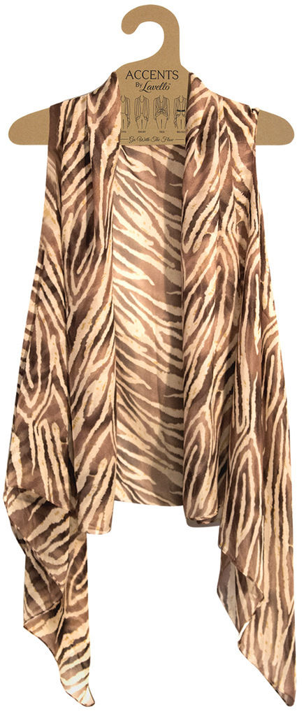 Brown Animal Print Vest By Lavello