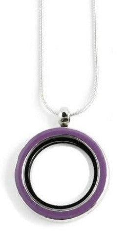 30MM Purple Floating Charm Locket Necklace