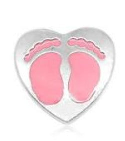 Pink Heart Baby Feet Floating Charm