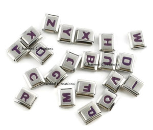 Purple Letters 9mm Italian charm