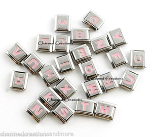 Pink Letters 9mm Italian charm