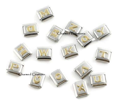Puffy Gold Letters 9mm Italian charm