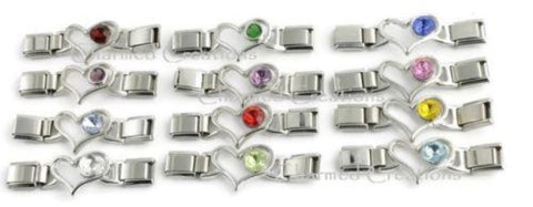 Birthstone Heart Enhancer For 9mm Italian Charm Bracelets
