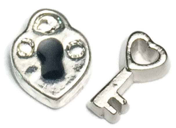 Padlock And Key Floating Charm Set