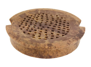 Handmade Round Soapstone Soap Dish With Removable Lattice Top