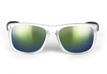Frosted White Frame Sunglasses With Mirrored Lense