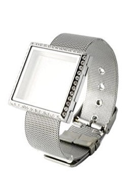 Square Stainless Steel Floating Charm Locket Bracelet