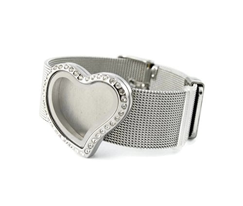 Curvy Heart Stainless Steel Floating Charm Locket Bracelet