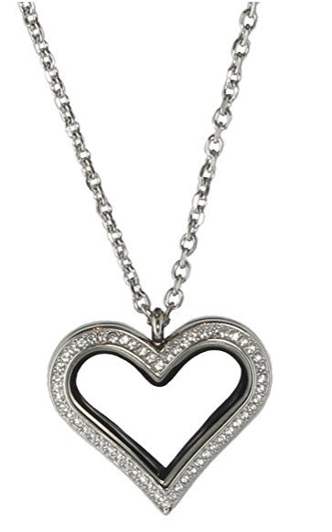 Stainless Steel Heart Floating Charm Locket Necklace