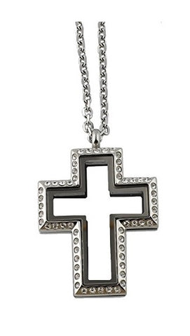 Stainless Steel Cross Floating Charm Locket Necklace