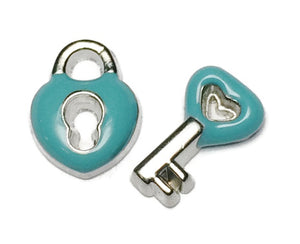 Teal Lock And Key Floating Charm Set