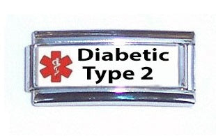 Diabetic Type 2 Medical Alert Super Link Charm For 9mm Italian charm Bracelets