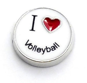 I Love Volleyball Floating Charm