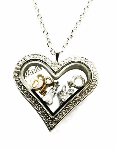 Stainless Steel Heart Floating Charm Locket Necklace With Wedding Theme Charms