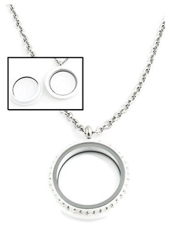 30mm White Acrylic Screw Top Floating Charm Locket Necklace