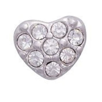 Puffy CZ Heart Floating Charm