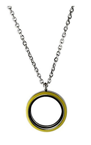 Stainless Steel 30mm Yellow Enamel Floating Charm Locket Necklace