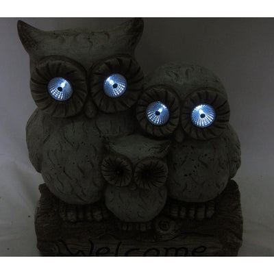 Garden Decor-Solar Owl Family By Alpine